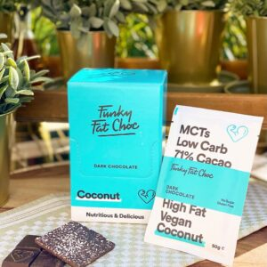 KETO-chocolade Funky Fat Foods - COCONUT (10 + 1 gratis)