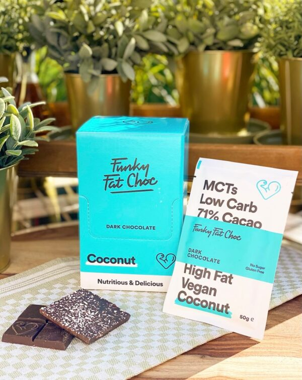 KETO-chocolade Funky Fat Foods - COCONUT (10 + 1 gratis)